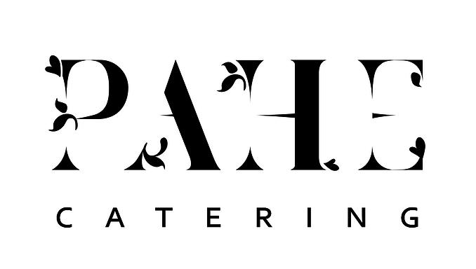 PAHE CATERING -logo, joka on mustalla tekstillä valkoisella läpikuultavalla taustalla.