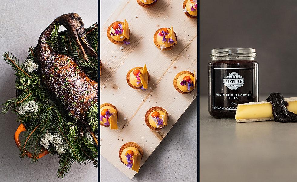 Kolmen kuvan sarjassa ensimmäisessä kokonainen paahdettu sorsa kuusipedillä, toisessa kuvassa värikkäitä cocktailpaloja ja kolmannessa hillopurkki, jossa mustaherukka-orvokkihilloa juuston kera.
