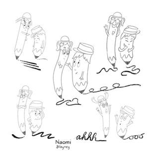 Pencil and Jasmina Character Sketch
