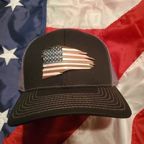 Hand made rustic Tattered flag hat patch