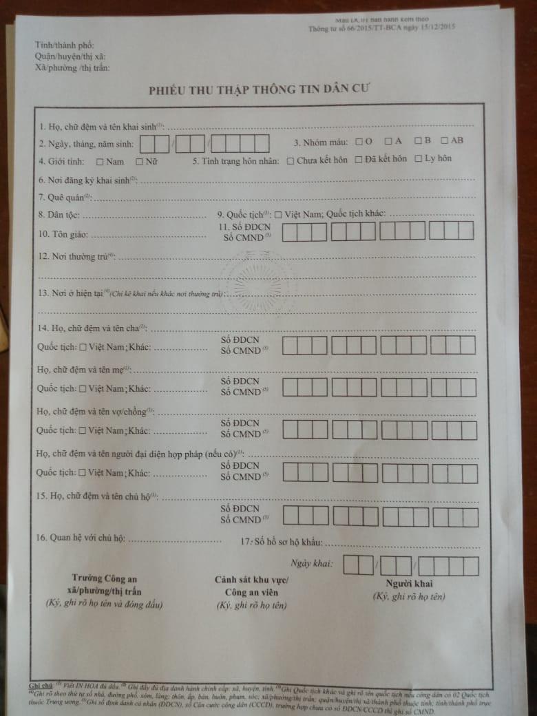 Phiếu thu thập thông tin dân cư ở Tiểu Khu 179