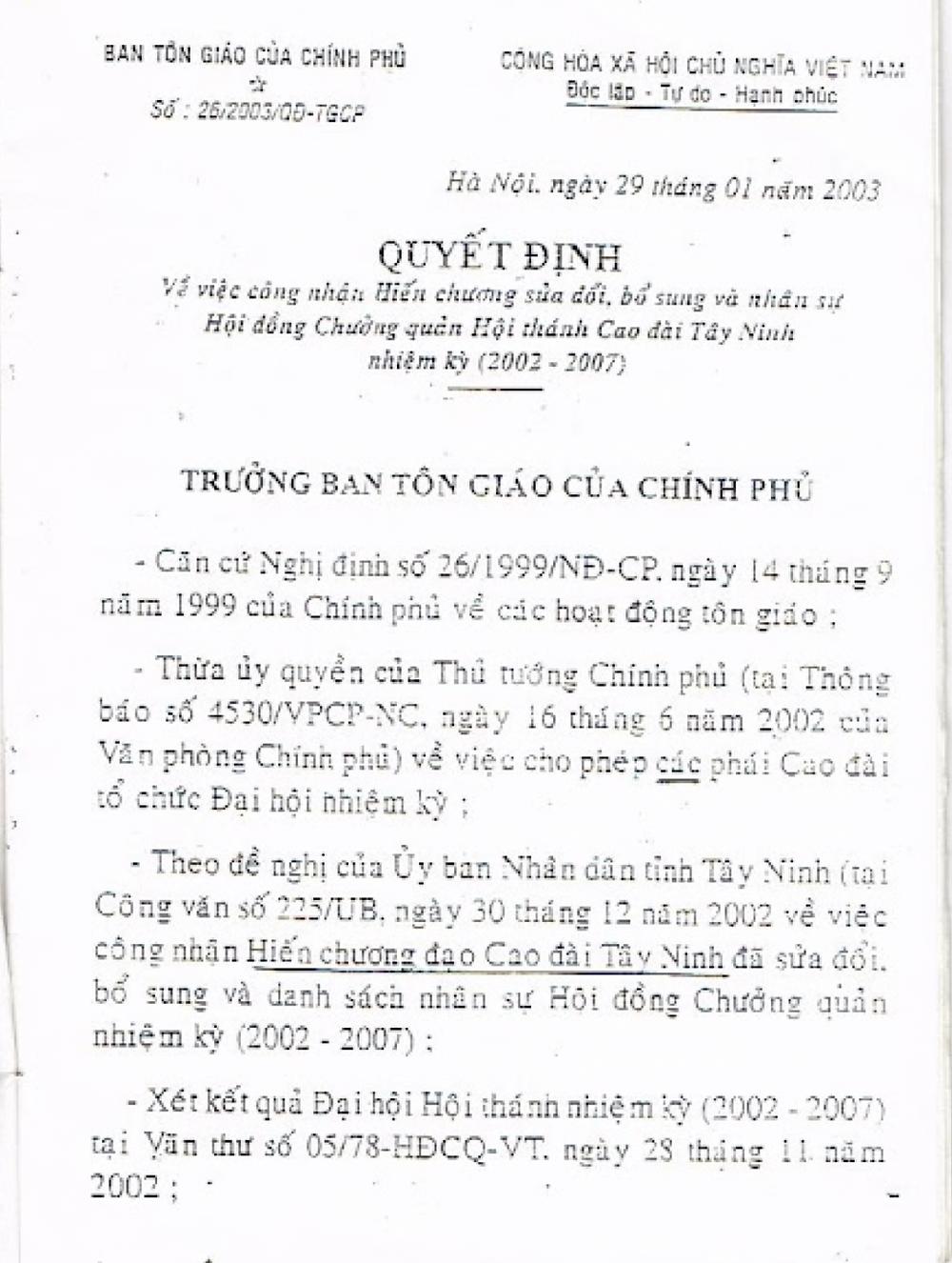 Quyết định số 26/2003/QĐ-TGCP