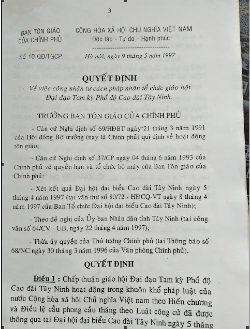 """Ban Tôn Giáo Chính Phủ công nhận tư cách pháp nhân của """"Đại Đạo Tam Kỳ Phổ Độ Cao Đài Tây Ninh"""" do chi phái 1997 lập ra."""