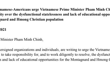 Young Vietnamese-Americans urge Vietnamese Prime Minister Pham Minh Chinh to take responsibility