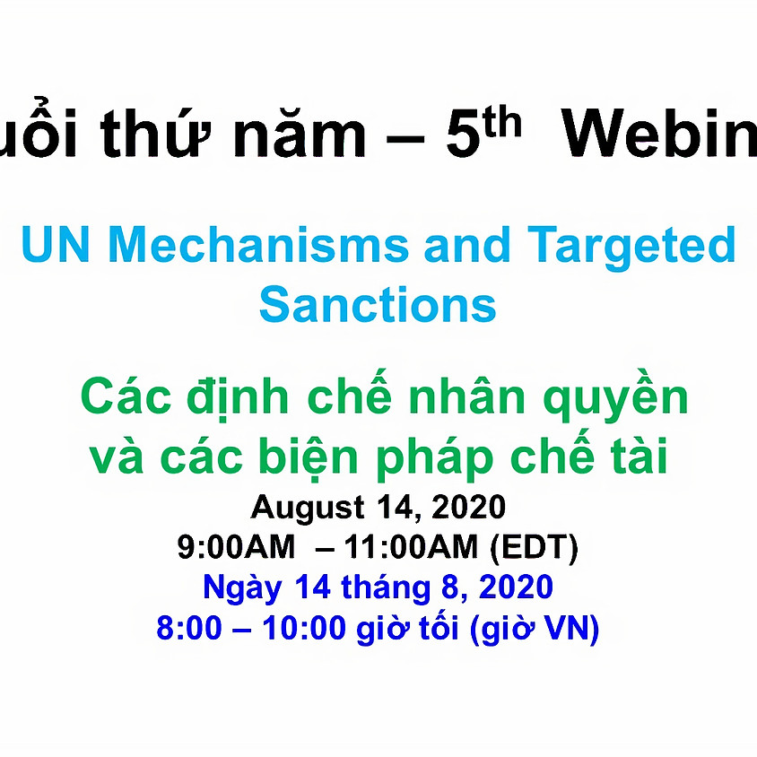 BPSOS - VIETNAM ADVOCACY DAY 2020: Human Rights Mechanisms and Sanctions Regimes