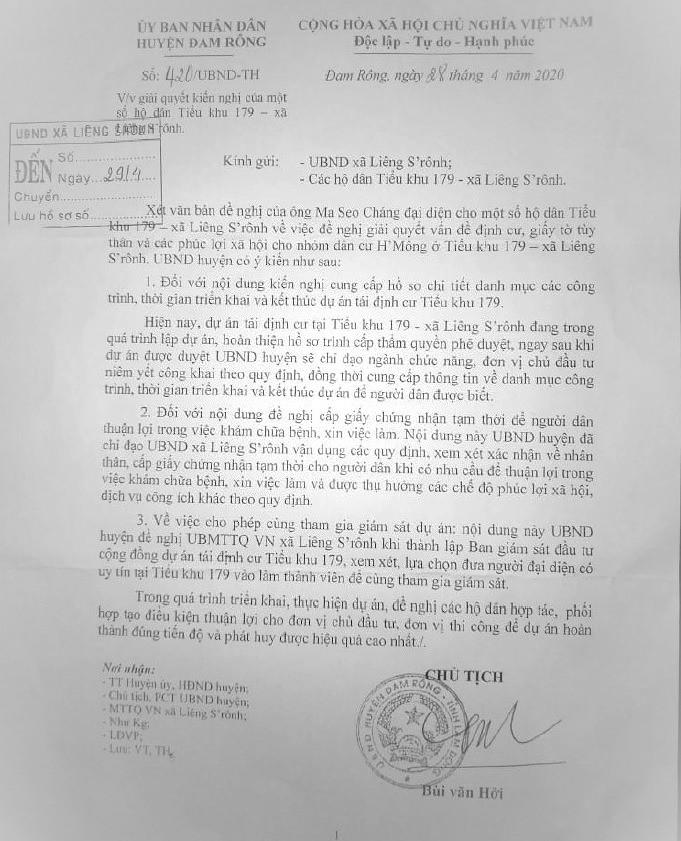 Văn bản số 420/UBND-TH ngày 28 Tháng 4, 2020 của Ủy ban nhân dân huyện Đam Rông do ông Chủ tịch Bùi Văn Hởi ký, đồng ý cấp giấy tờ tùy thân và để người dân Tiểu khu 179 được cử đại diện tham gia giám sát dự án tái định cư.