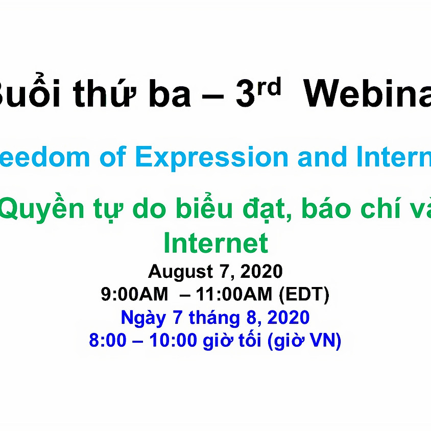 VIETNAM ADVOCACY DAY 2020: Webinar 3 - Freedom of Expression, the Press and Internet