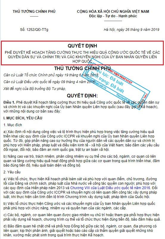 Quyết Định số 1252/QĐ-Ttg của Thủ-Tướng Nguyễn Xuân Phúc
