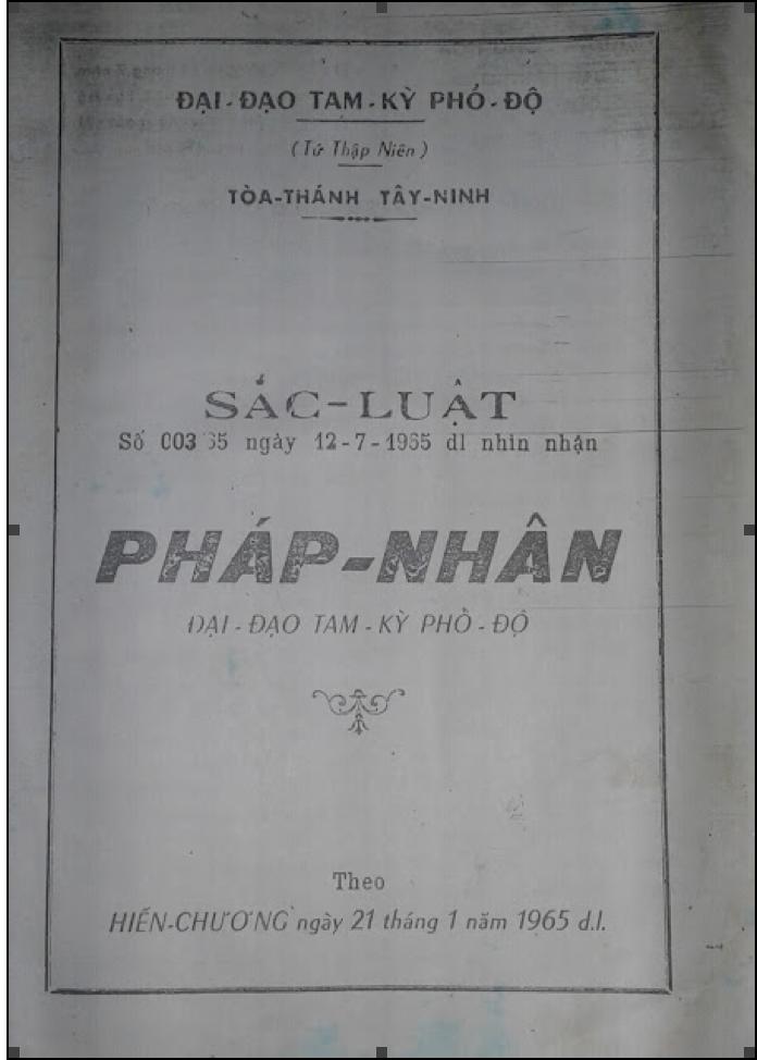 Tên đạo trong Hiến chương năm 1965