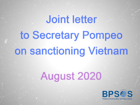 Joint letter to Secretary Pompeo on sanctioning Vietnam