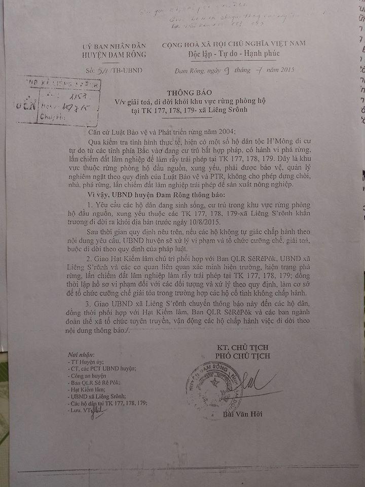 Thông báo số 54, ngày 9 tháng 7 năm  2015 của Uỷ ban nhân dân huyện Đam Rông