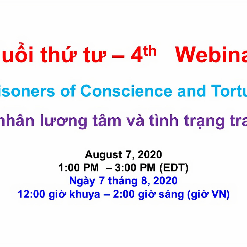 VIETNAM ADVOCACY DAY 2020: Webinar 4 - Prisoners of Conscience and Torture