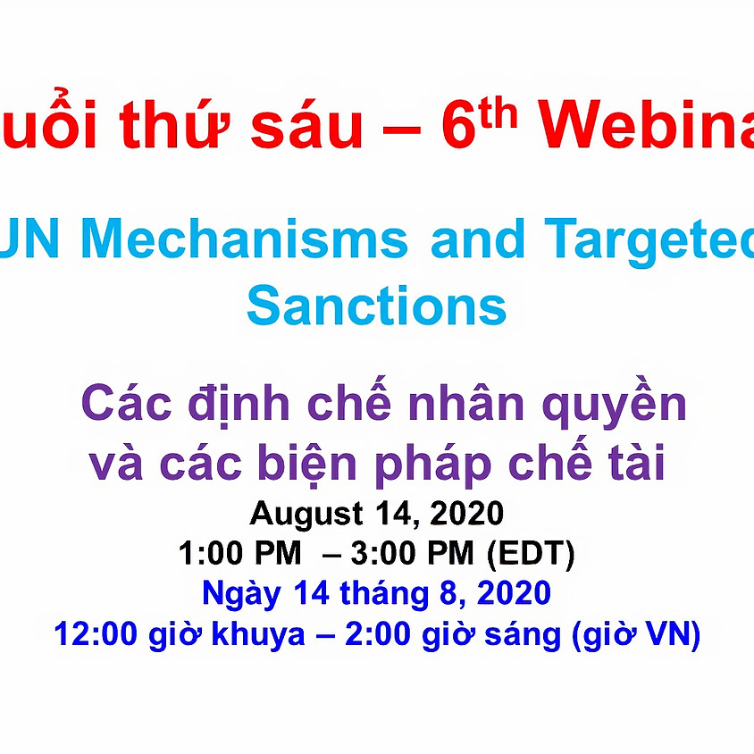 BPSOS - VIETNAM ADVOCACY DAY 2020: Human Rights Mechanisms and Sanctions Regimes (2nd session)
