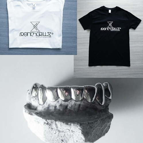 PACK T-Shirt FrenchGrillz+ Grillz TOP ou BOTTOM 6 ou 8 Argenté ou Doré