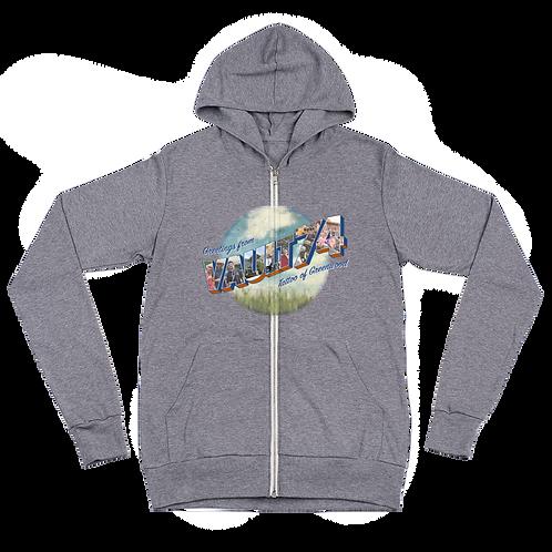 V74 Greetings lightweight zip hoodie