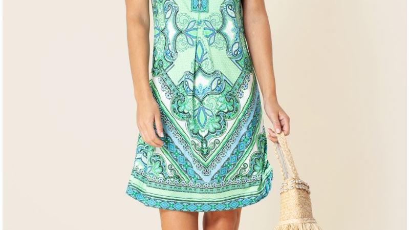 Hale Bob - LENA JERSEY DRESS *BEADED*- Lime