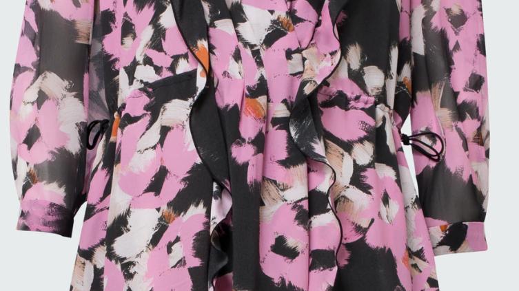 Dorothee Schumacher - Floral Graphics Dress - Pink Flowers on Black