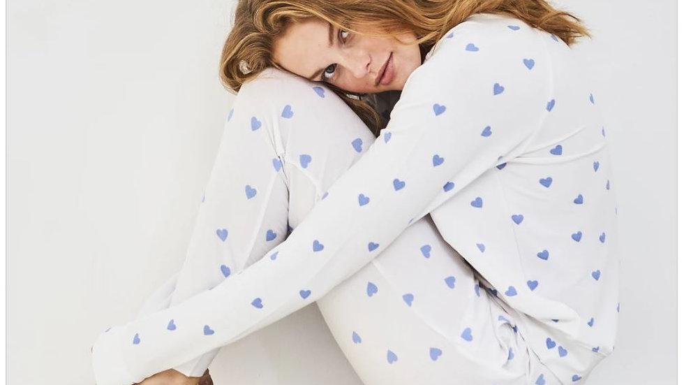 Stripe & Stare - Lounge Pant & Sweatshirt Set - Blue Heart