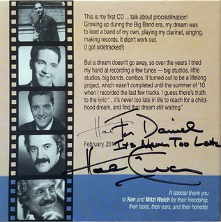 """Personally signed CD from Hal Linden, Motto """"It's Never Too Late"""""""
