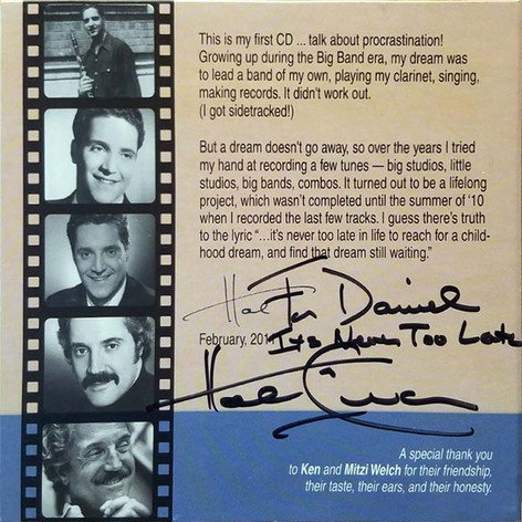"Personally signed CD from Hal Linden, Motto ""It's Never Too Late"""