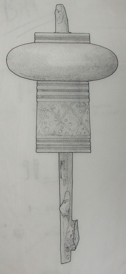 Drawing of Abbess's staff from archaeological dig 1984