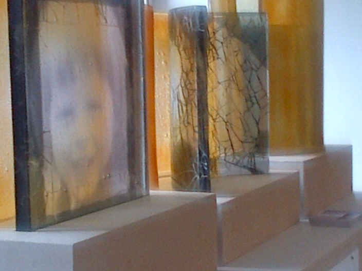 Through a Glass Darkly - triptych in kilnformed glass