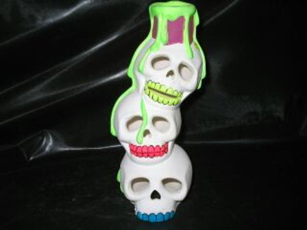 Skull stack w/dripping candle