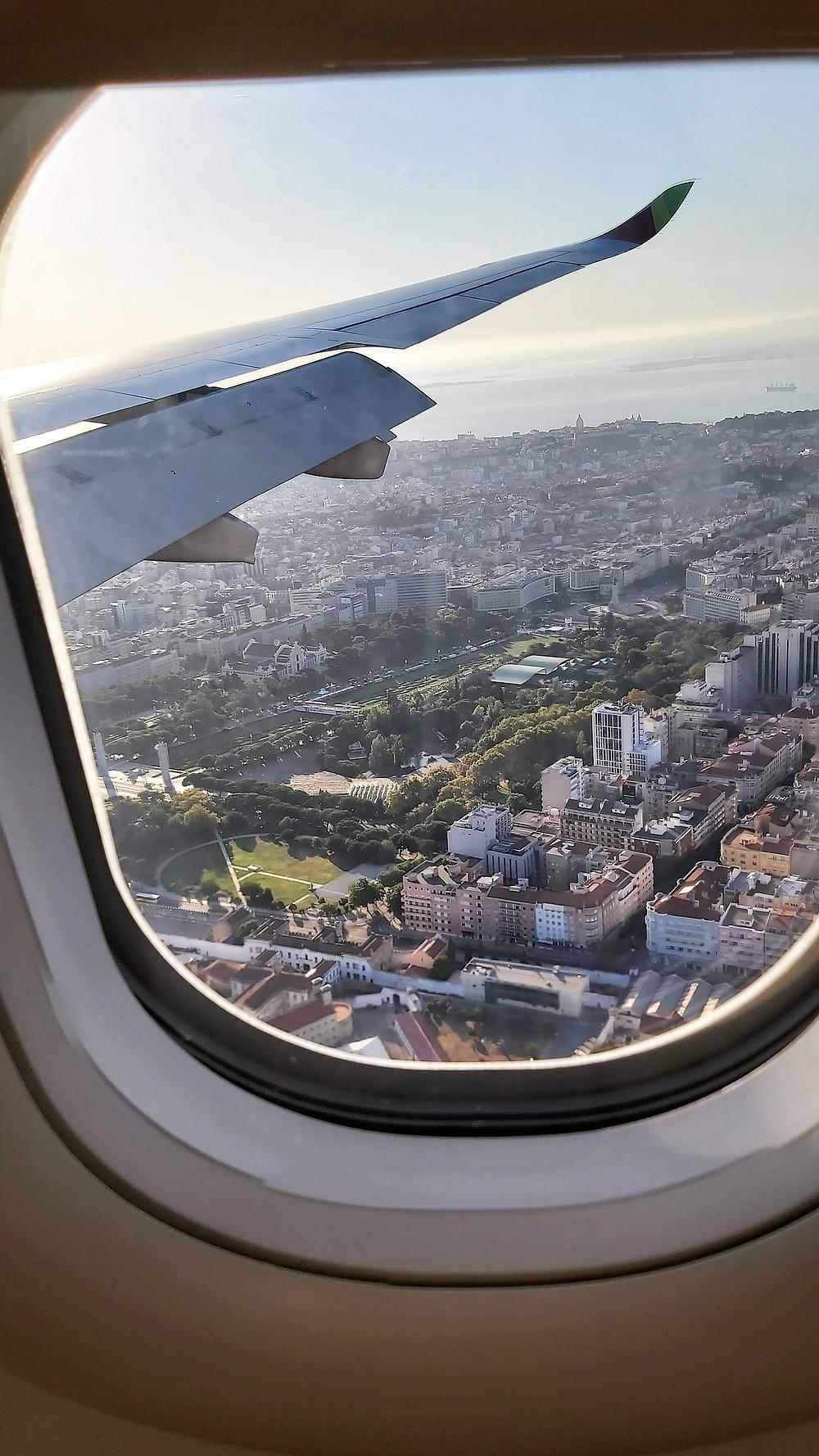 Vista do avião da cidade de Lisboa, Portugal