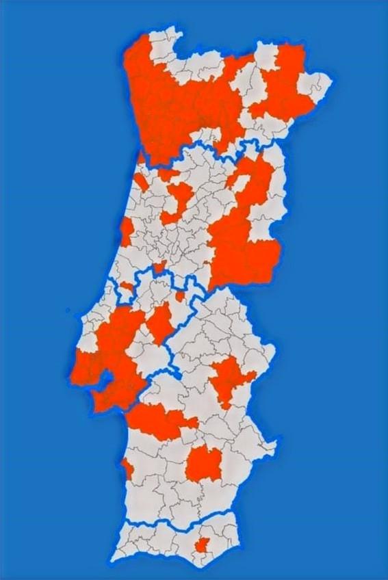 Mapa de Portugal durante o estado de emergência em novembro de 2020