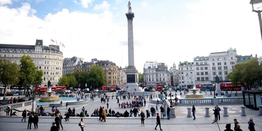 Trafalgar Square, ponto importante da cidade, onde desci do ônibus (Foto: Prefeitura de Londres)