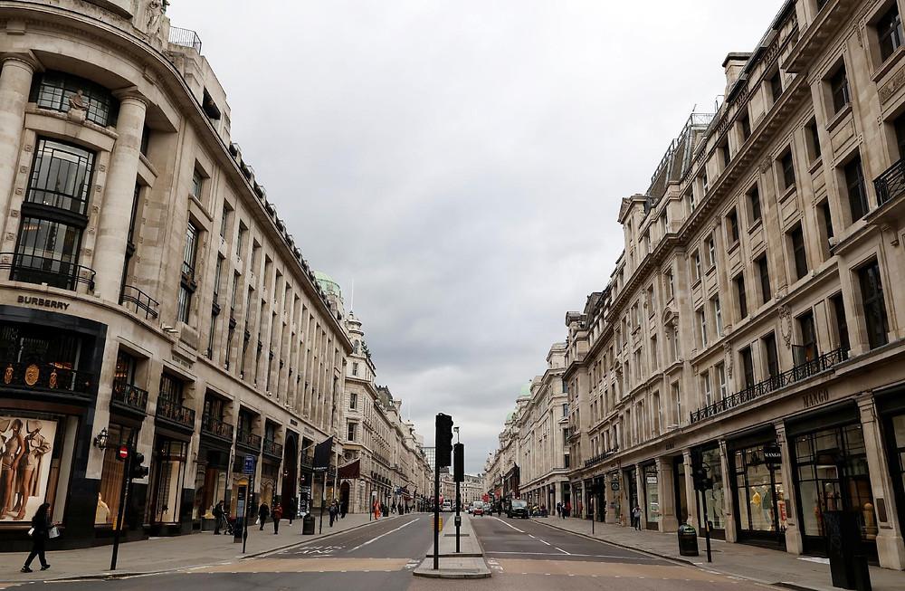Londres vazia por causa do novo Coronavírus