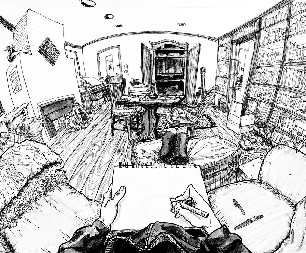 4 Point Curvilinear Perspective Drawing