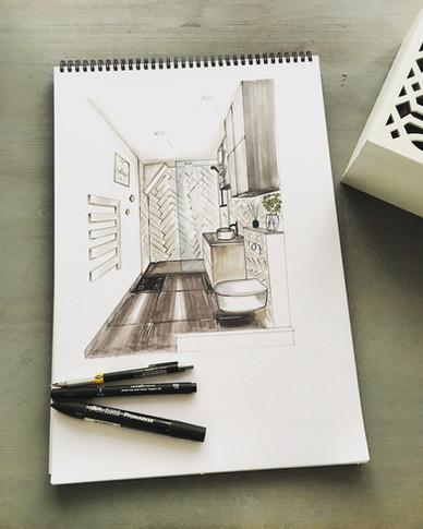 esquisse pour imaginer la décoration intérieure d 'une future salle de bain à Quiberon