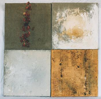 Monochromes éléments naturels 1 Peinture, poudre de bois, copeaux, pigments 90/90 cm