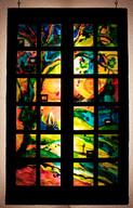 Fenêtre, peinture et collages matrice 1
