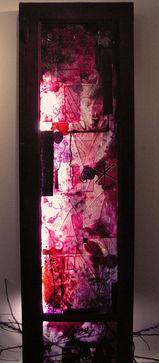 Fenêtre pourpre Tissus, peinture, fenêtre, branches et pigments170/40 cm