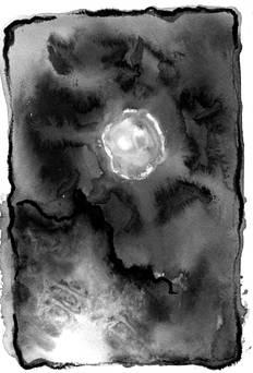 Lumière sur le papier 4 Encre, pastel, huile de tourneso 15/20 cm