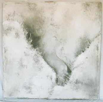 Monochrome blanc 1 Peinture, toile de jute et pigment de terre 80/80 cm