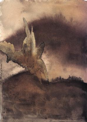 Explosion 4 Encre et déchirure sur papier 20/20 cm