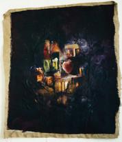 peinture et collage sur toile de jute, 200/170 cm