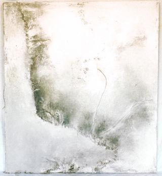Monochrome blanc 2 Peinture, toile de jute et pigment de terre 120/100 cm