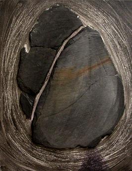 Fragments d'ardoise sur toile Peinture grattée 15/20 cm
