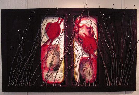 Fenêtre 1 Tissus, peinture, branches et pigments 120/90 cm