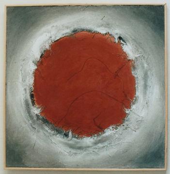 Cratère 3 Peinture, collage de toiles, pigments de terres, colle naturelle 80/80 cm
