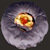 Coussin 2/4, collage, lampe, dessins de germination d'une graine. 35/35 cm