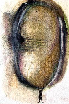 Acrobatie 2  Encre, peinture et fusain 15/20 cm