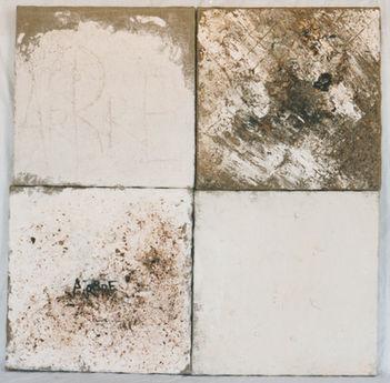 Monochromes 1 Peinture, poudre de bois, copeaux, écorces, pigments  90/90cm