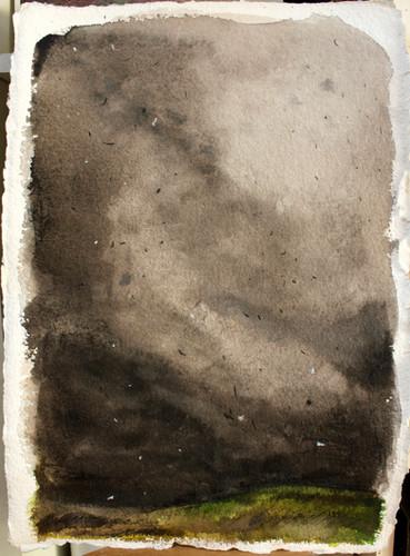 Tempête 1/3 Encre et pastel. 40/30 cm