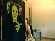 Matrice Portrait singe. 220/160 cm Peinture sur toile