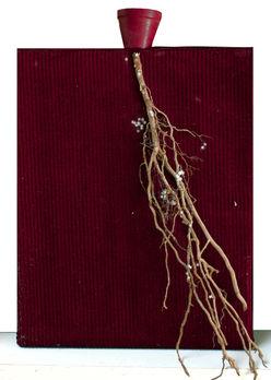 Petite histoire 2 Tissus, branches, ceramique etc.. et pigments 15/20 cm
